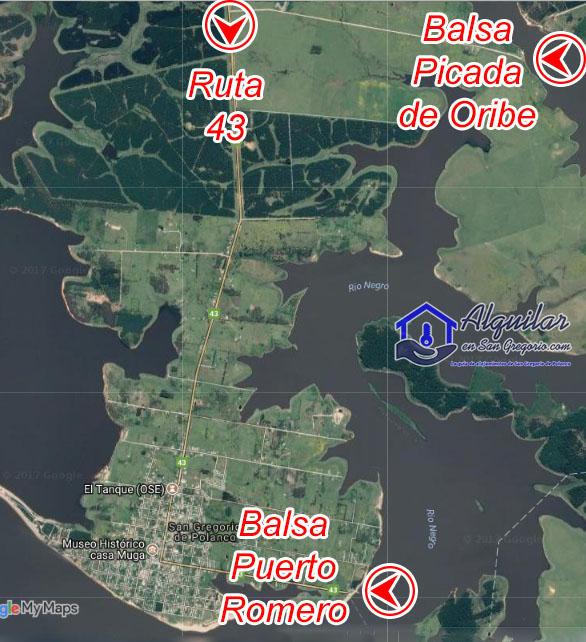 Mapa de rutas de acceso a San Gregorio de Polanco