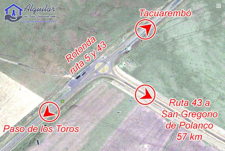 Mapa de rotonda ruta 5 y 43 a San Gregorio de Polanco